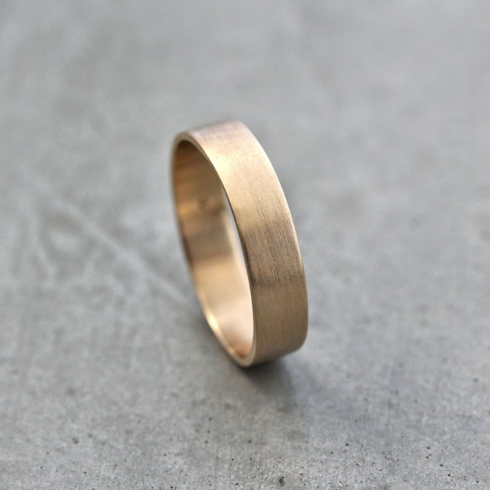 9f6aa015bf959 Mens Gold Wedding Band, Unisex 5mm Wide Brushed Flat 10k Recycled Yellow  Gold Wedding Ring Simple Textured Mans Minimalist Ethical Band