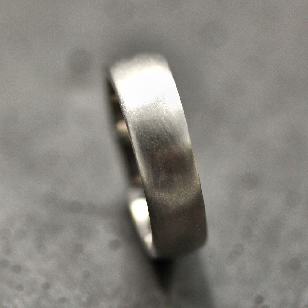 White Gold Wide Mens Wedding Band Brushed 7mm Low Dome 14k Etsy
