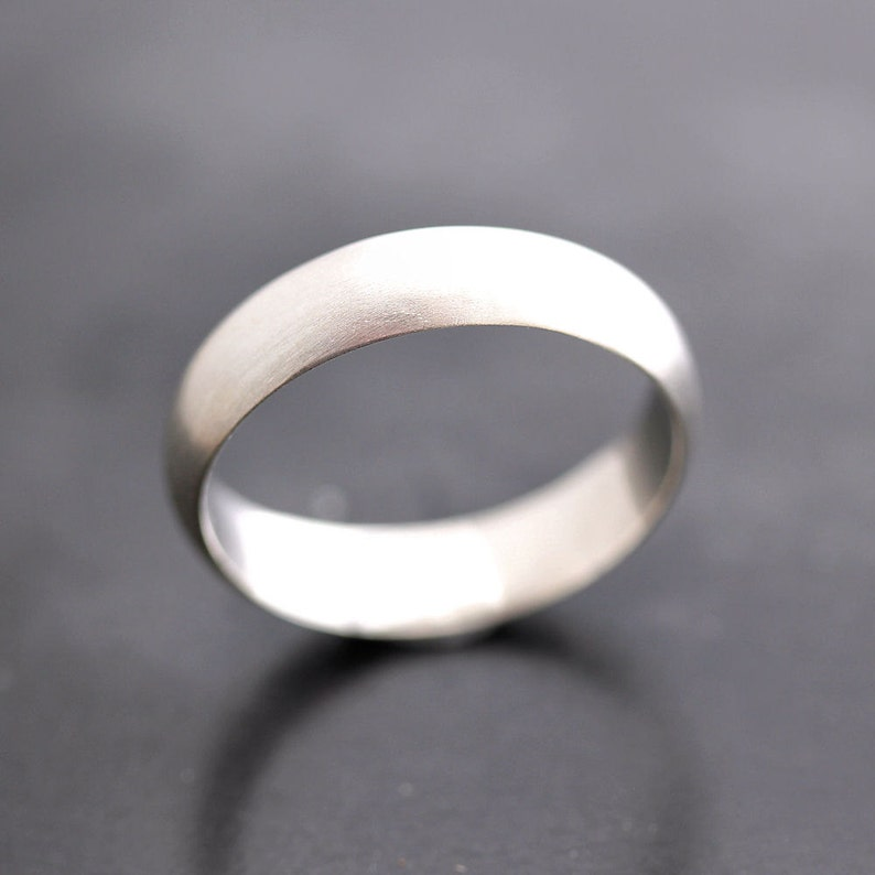 Men/'s Wedding Band Made in Your Size Matte 5mm Half Round Brushed Unisex Recycled Metal Argentium Sterling Silver Ring Men/'s Ring