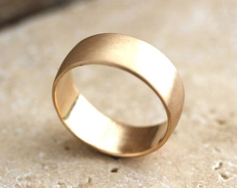 Wide Men's Gold Wedding Ring, 8mm Low Dome Men's Wedding Band Recyled 10k Yellow Gold Ring Wedding Jewelry - Made in Your Size