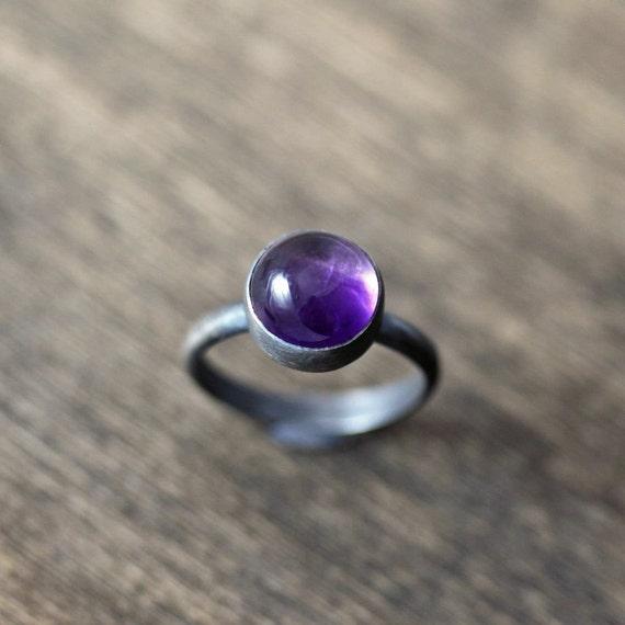 Amethyst Birthstone Ring, February Birthstone Grape Purple Amethyst  Gemstone Oxidized Sterling Silver Ring - Ready to ship in Size 5 5
