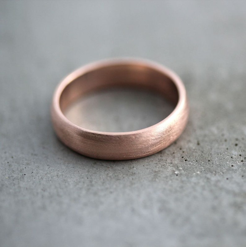 Mens Rose Gold Wedding Band.Rose Gold Men S Wedding Band Brushed Matte Men S 5mm Low Dome Recycled 14k Rose Men S Gold Ring Made In Your Size