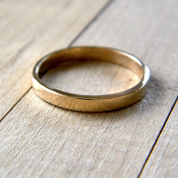 Gold Wedding Band 2 5mm Slim Flat Recycled 14k Solid Yellow Etsy