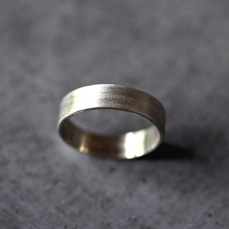 Men's Gold Wedding Band 5mm Wide Brushed Flat 14k image 0
