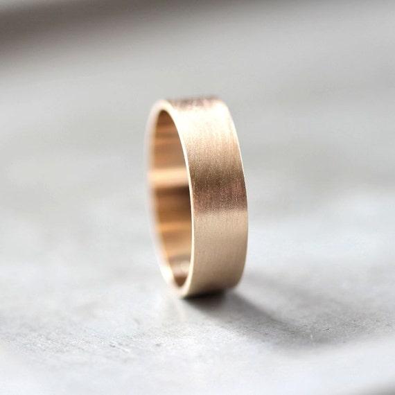 Men S Gold Wedding Band 6mm Wide Brushed Flat 10k Etsy