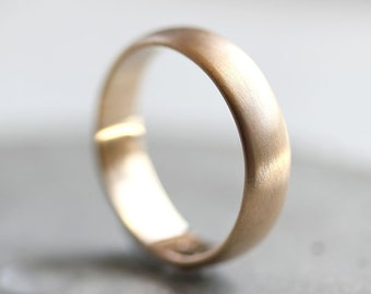 Men's Gold Wedding Band, 5mm Brushed Half Round 14k Recycled Yellow Gold Wedding Ring Gold Ring -  Made in Your Size