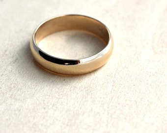 Men's Wedding Band, 5mm Half Round 10k Recycled Yellow Gold Wedding Ring Gold Ring -  Made in Your Size