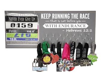 Running medal holder | Running medal rack | Race medal Display | Race bib hanger | Half Marathon Gifts | Keep running the race..Hebrews 12:1