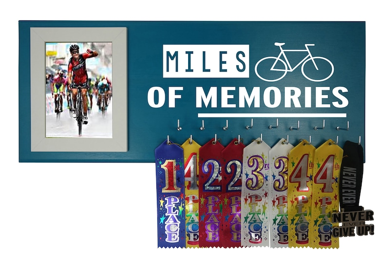 Cycling medal holder - Hanger for biking race medals - Bicycle awards  display rack - Cyclist ribbons trophy - Life is like a bicycle