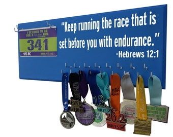 Running medal and race bibs - Keep running the race that is set before you with endurance. Hebrews 12:1, Gifts for runners