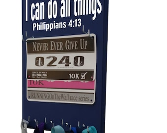 Running Race Bib Holders , i can do all things through Christ… Philippians 4:13 , Race bib hanger