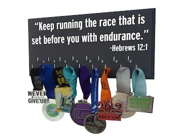 Running, Running Medal display, inspirational bible verse, running medal holder, runners medal rack, race medal holder, running medal rack