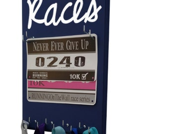 gifts for runners - women's race bibs display - races script graphic