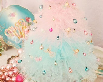 Instructional PDF Pattern and Helpful Hints for Sewing Retro Vintage Tulle and Nylon Net Christmas Trees
