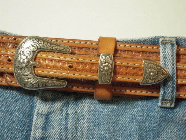 Vintage Double-J Saddlery Handmade Leather Ranger-Style Western Belt Size 40