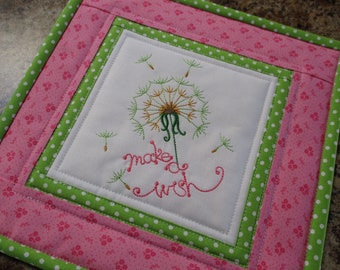 mug rug candle mat coaster quilted mug rug embroidered table mat mini wall hanging MAKE A WISH
