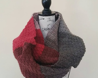 Red Velvet Pebble Stitch Infinity Cowl - Ready to Ship