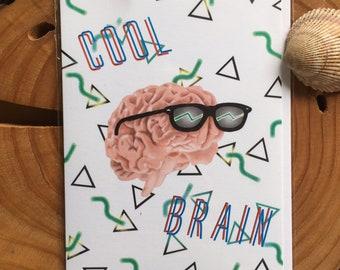 "Cool Brain Greeting Card, 4.25""x5.5"", Blank Inside, sunglasses, rad, neon, 90s, 80s, retro pattern, design, graduation"