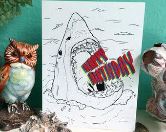 "Great White Birthday Card, Shark, 4.25""x5.5"", blank inside, ocean, happy birthday, nautical, greetings, rad"