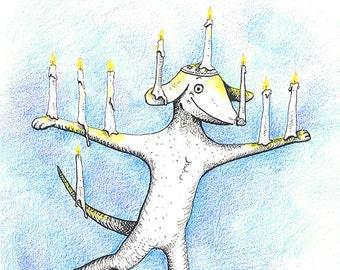 "Hanukkah Dog, Hanukkah card, holiday card, greeting card, chanukkah card, pooch, canine, menorah, blank inside, 4.25""x5.5"""