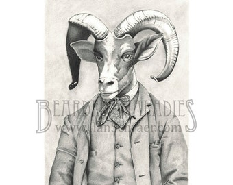 "Bighorn Sheep Portrait, 8""x10"" Print, Animal Art, Fancy, Old Timey, Vintage, Drawing"