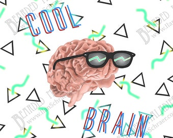 "Cool Brain Art Print, 8""x8"", sunglasses, rad, neon, 90s, 80s, shades"
