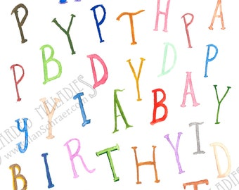 "Birthday Jumble, Birthday Card, 4.25""x5.5"", Blank Inside, Letters, Watecolor"