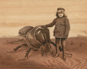 "Boy with Companion, insect art print, 8""x10"", vintage cabinet card, portrait, rhinoceros beetle, illustration,"