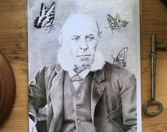 """Old Man with Butterflies Greeting Card, 4.25""""x5.5"""", Blank Inside, muttonchops, vintage, portrait, cabinet card"""