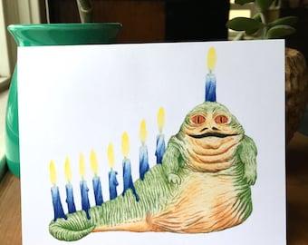 "Jabbanukkah!, Hanukkah Card, Star Wars, Return of the Jedi, the last jedi, Chanukkah, Channukah, Blank Inside, 5.5""x4.25"", Jabba the Hutt"