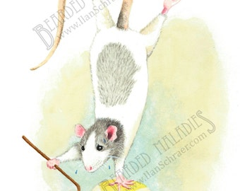"Dolores's New Routine, Balancing Rat, Greeting Card, 4.25""x5.5"", blank inside, trick, illustration, animal, watercolor"