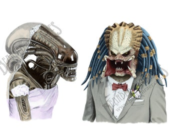 Alien LOVES Predator Greeting Card, Blank inside, Wedding, Anniversary