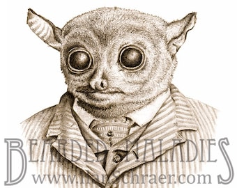 "Fancy Tarsier Greeting Card, Blank Inside, 4.25""x5.5"", Animal Art, Old Timey, Vintage, Drawing"