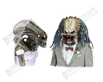 "ALIEN LOVES PREDATOR art print, wedding, anniversary, love, 8"" x 10"", sci-fi, Ripley"