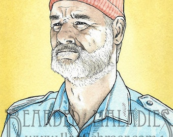 "Bill Murray greeting card, Life Aquatic with Steve Zissou, Yellow background, Blank inside 4.25"" x 5.5"", Wes Anderson, Owen Wilson"