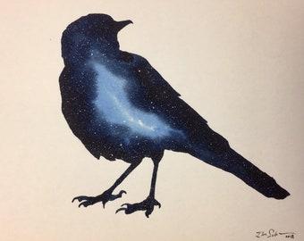 "Cosmic Bird, original watercolor painting, 5""x7"", stars, galactic, galaxy space art"