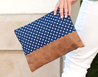Charlie Dot Zip Pouch in Navy and White Polka Dot