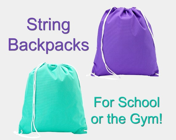 String Backpack in Purple or Mint Green