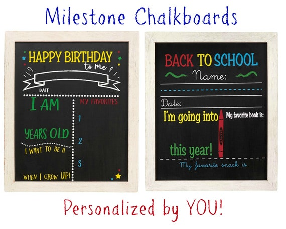 Birthday and Back to School Chalkboard Sign Double Sided