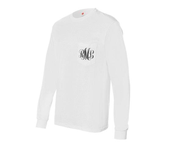 Long-Sleeved Monogrammed Pocket T-Shirt