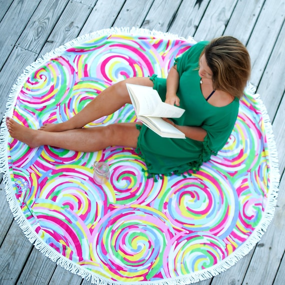 Summer Sorbet Sand Circle Round Towel