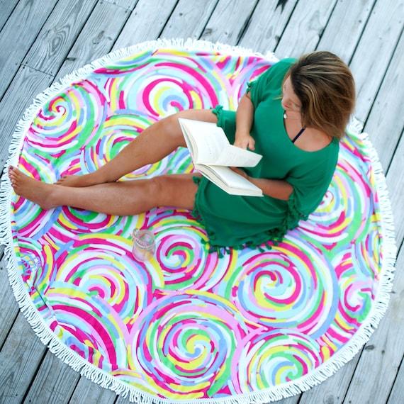 Summer Sorbet Sand Circle Round Towel