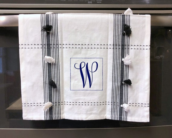 Cotton Dish Towel with Black and White Tassels