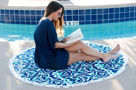 Blue Luna Lagoon Sand Circle Round Towel