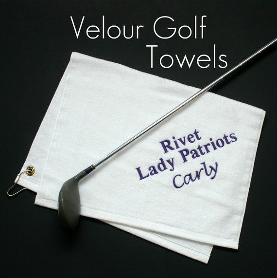 Monogrammed Velour Golf Towel in Black or White
