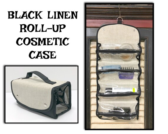 Black Linen Roll Up Cosmetic Case