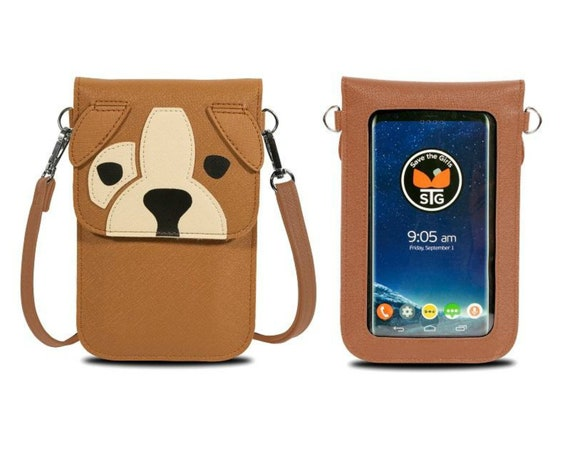 Brown Dog Touch Screen Phone Purse