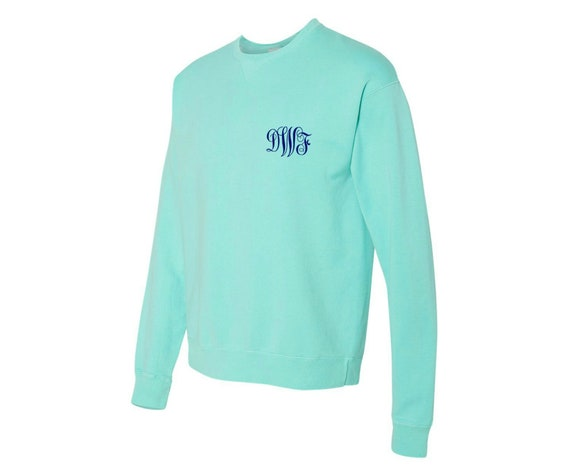 Long-Sleeved Monogrammed Sweatshirt in Mint