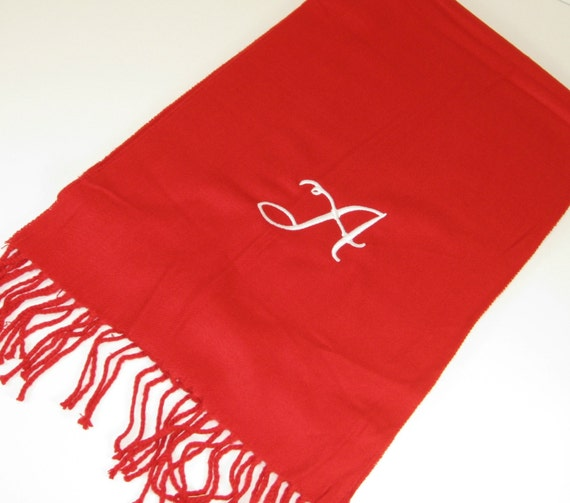 Monogrammed Red Cashmere Feel Scarf