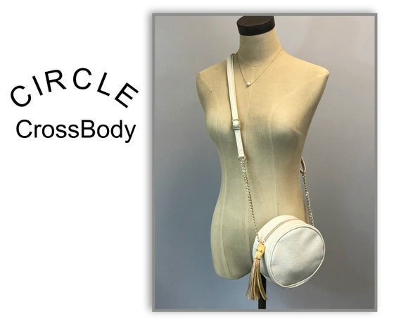 Circle Crossbody in Lizard-Textured Pleather with Bamboo Accent